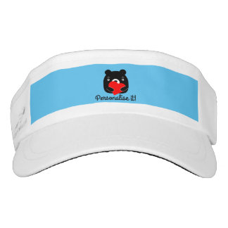 Black bear holding a heart visor