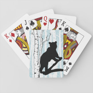 Black Bear in Birch Forest Playing Cards
