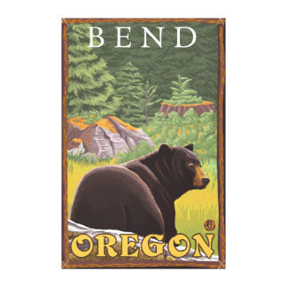 Black Bear in Forest - Bend, Oregon Canvas Print
