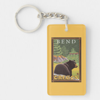 Black Bear in Forest - Bend, Oregon Double-Sided Rectangular Acrylic Key Ring