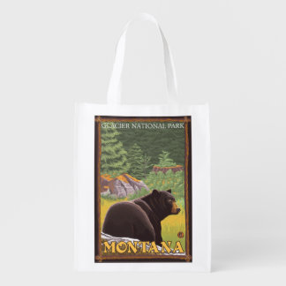 Black Bear in Forest - Glacier National Park, MT Reusable Grocery Bag