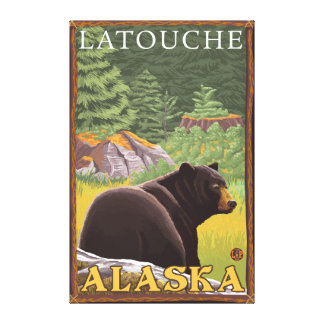 Black Bear in Forest - Latouche, Alaska Stretched Canvas Prints