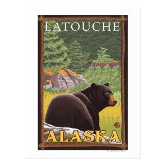Black Bear in Forest - Latouche, Alaska Postcard