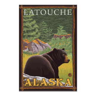 Black Bear in Forest - Latouche, Alaska Poster