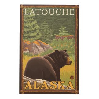 Black Bear in Forest - Latouche, Alaska Wood Canvases
