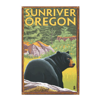 Black Bear in Forest - Sun River, Oregon Canvas Print