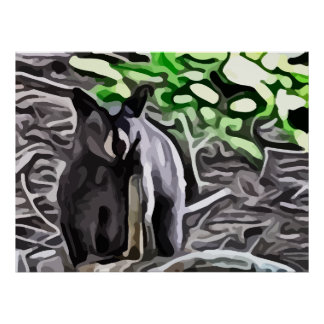 Black Bear in the woods painting Poster