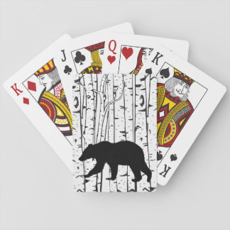 Black Bear in White Birch Trees Playing Cards