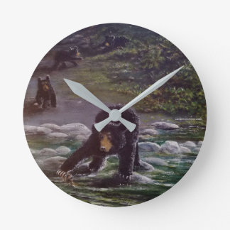 Black Bear Mother with Cubs. Painting by N. Cronic Round Clock