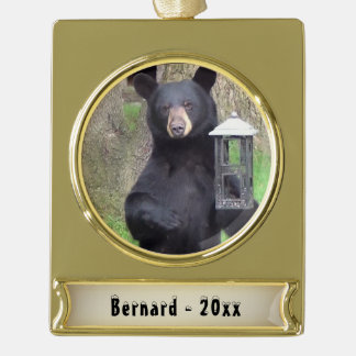 Black Bear Name and Year Gold Plated Banner Ornament