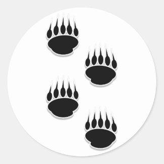 Black Bear Paw Prints Classic Round Sticker