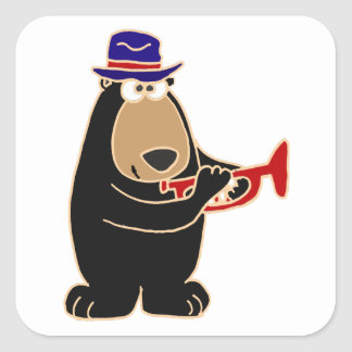 Black Bear Playing Red Trumpet Square Sticker