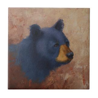 Black Bear Portrait Ceramic Tile