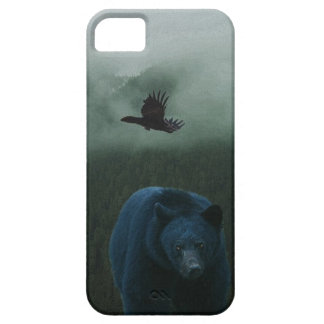 Black Bear & Raven & Misty Mountain Wildlife Theme Case For The iPhone 5