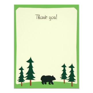 BLACK BEAR Rustic Flat Thank you note card 11 Cm X 14 Cm Invitation Card