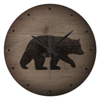 Black Bear Silhouette Large Clock