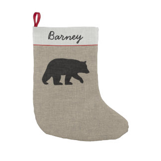 Black Bear Silhouette with Custom Text Small Christmas Stocking