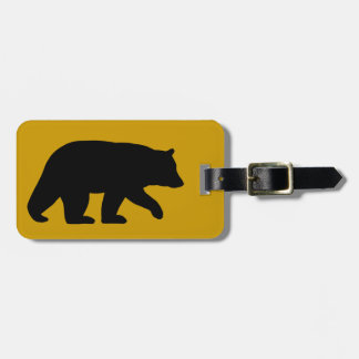 Black Bear Silhouette with Customizable Text Luggage Tag