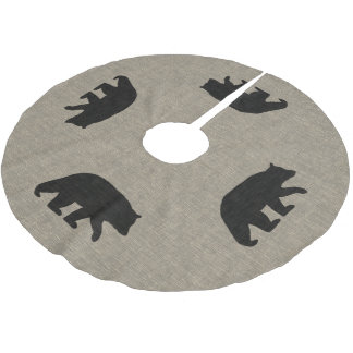 Black Bear Silhouettes Burlap Linen Style Brushed Polyester Tree Skirt