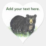 Black bear teddy bear heart sticker