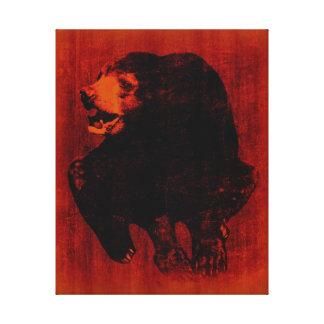 Black Bear Vintage Art Wrapped Canvas Canvas Print