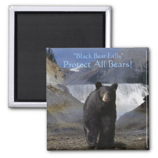 Black Bear & Water-Fall Nature scene Square Magnet