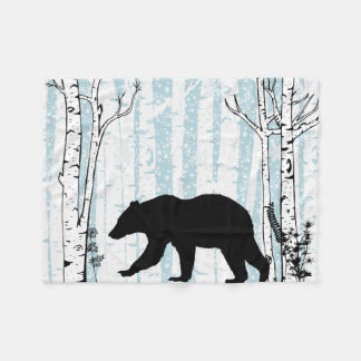 Black Bear With Birch Blue Sky Fleece Blanket