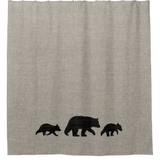 Black Bear with Cubs Silhouettes Shower Curtain
