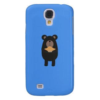 Black Bear with pie Q1Q Galaxy S4 Cases