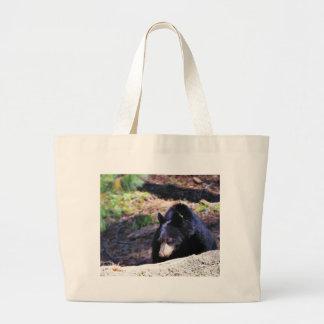 Black Bears Furry Large Tote Bag
