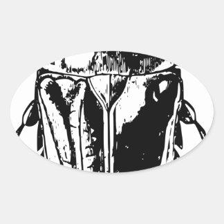 Black Beatle Oval Sticker