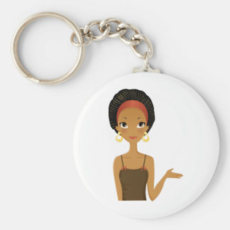 Black beauty basic round button key ring