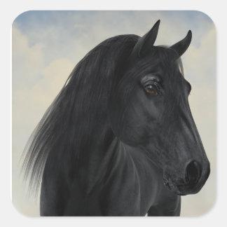 Black Beauty - Black Friesian Horse Portrait Square Sticker