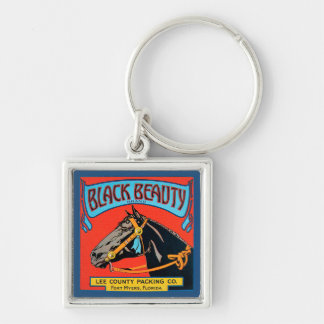Black Beauty Horse on Red Background Key Ring