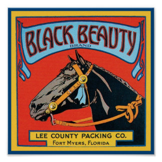 Black Beauty Vintage Crate Label - Horse Posters