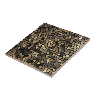 Black, beige and brown mosaics small square tile