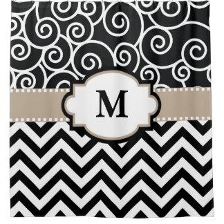 Black Beige Swirl Chevron Monogram Shower Curtain