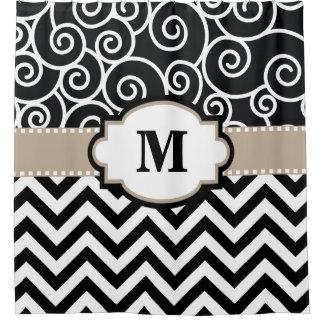 Black Beige Swirls Chevron Monogram Shower Curtain