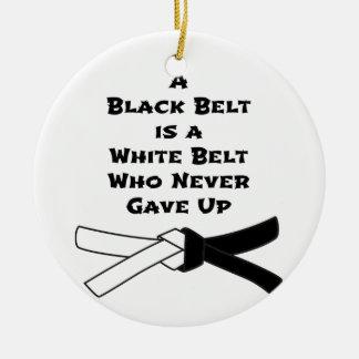 Black Belt Round Ceramic Decoration