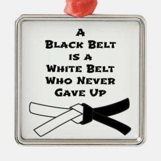 Black Belt Silver-Colored Square Decoration