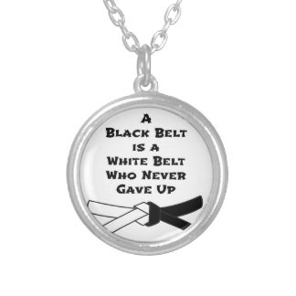 Black Belt Silver Plated Necklace