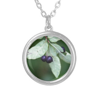 Black berried honeysuckle (Lonicera nigra) Silver Plated Necklace