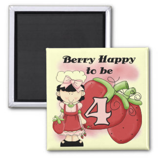 Black Berry 4th Birthday Tshirts and Gifts Square Magnet