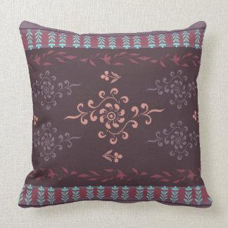 Black Berry Dun Huang Buddhistic Floral Cushion