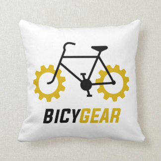 Black Bicycle w/ Yellow Gear Wheels Cushion