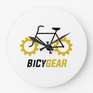 Black Bicycle w/ Yellow Gear Wheels Large Clock