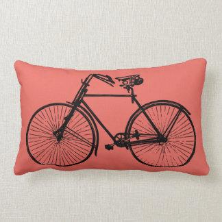 black bike bicycle Throw pillow salmon pink