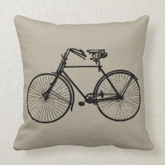 black bike bicycle Throw pillow taupe