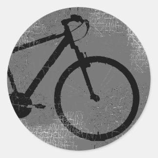 black bike in a circle classic round sticker