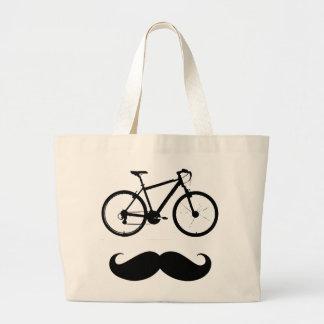 black bike moustache large tote bag